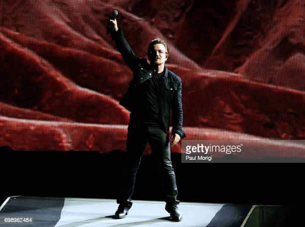 Bono of U2 performs during the 'Joshua Tree Tour 2017' at FedExField on June 20 2017 in Landover Maryland