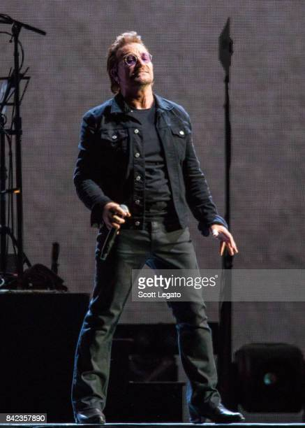 Bono of U2 performs during 'The Joshua Tree Tour 2017' at Ford Field on September 3 2017 in Detroit Michigan
