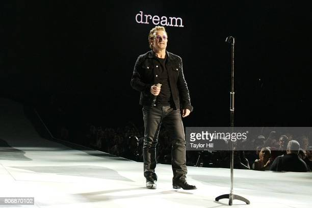 Bono of U2 performs during 'The Joshua Tree Tour 2017' at MetLife Stadium on June 28 2017 in East Rutherford New Jersey