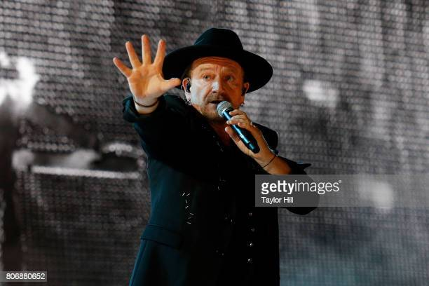 Bono of U2 performs during 'The Joshua Tree Tour 2017' at MetLife Stadium on June 29 2017 in East Rutherford New Jersey