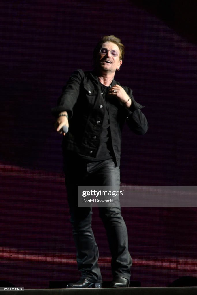 Bono of U2 performs during The Joshua Tree Tour 2017 at Soldier Field on June 3, 2017 in Chicago, Illinois.