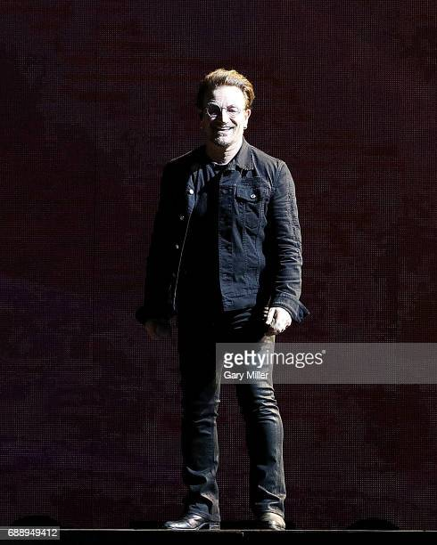 Bono of U2 performs during The Joshua Tree Tour at ATT Stadium on May 26 2017 in Arlington Texas