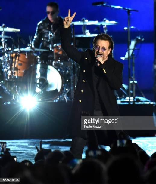 Bono of U2 performs during the World Stage event as part of the MTV EMAs 2017 at Trafalgar Square on November 11 2017 in London England