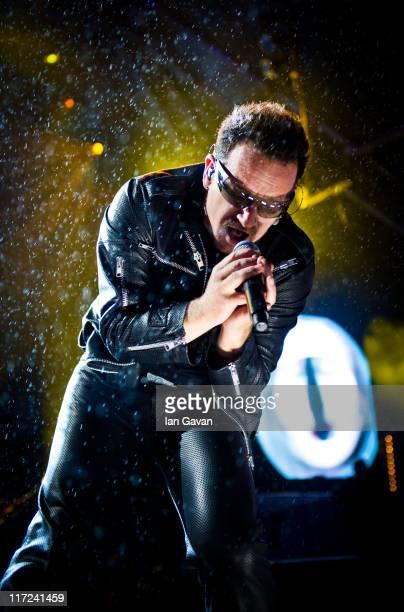 Bono of U2 performs live on the pyramid stage during the Glastonbury Festival at Worthy Farm Pilton on June 24 2011 in Glastonbury England