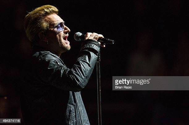 Bono of U2 performs on October 26 2015 in London England