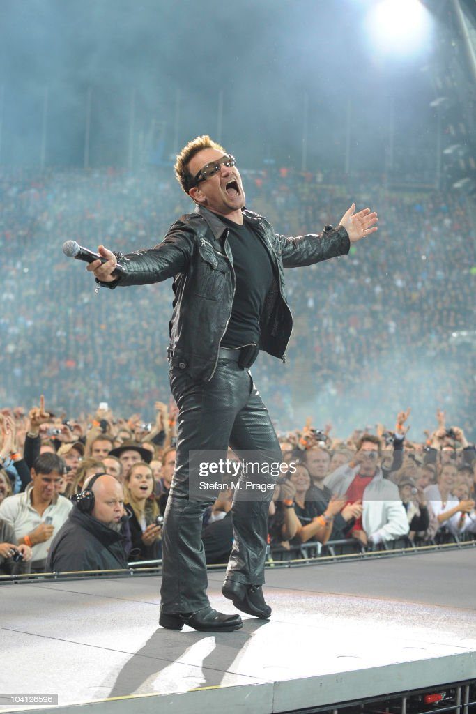 Bono of U2 performs on stage at Munich Olympiastadion on September 15 2010 in Munich Germany