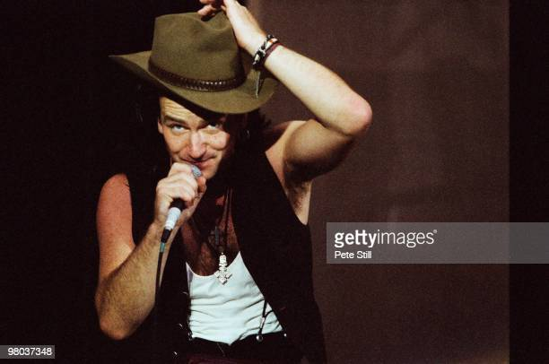Bono of U2 performs on stage at Wembley Stadium on June 12th 1987 on 'The Joshua Tree' tour in London England