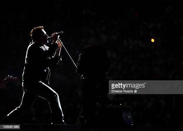 Bono of U2 performs on stage during the U2 360 Tour at the Stadio Olimpico on October 8 2010 in Rome Italy