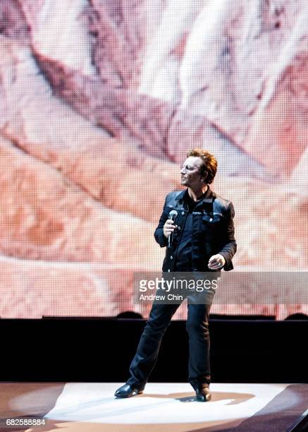 Bono of U2 performs on stage during their 'The Joshua Tree World Tour' opener at BC Place on May 12 2017 in Vancouver Canada