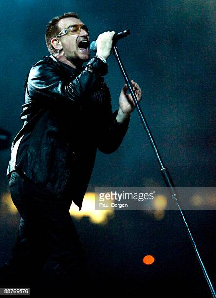 Bono of U2 performs on stage on the first night of the band's 360 World Tour at Nou Camp on June 30 2009 in Barcelona Spain