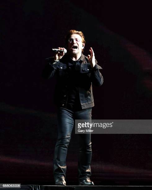 Bono of U2 performs on The Joshua Tree Tour at NRG Stadium on May 24 2017 in Houston Texas