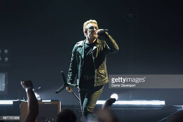 Bono of U2 performs onstage at SSE Arena Belfast on November 18 2015 in Belfast Northern Ireland