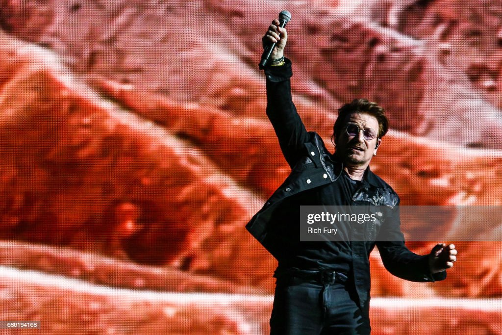 Bono of U2 performs onstage at the Rose Bowl on May 20, 2017 in Pasadena, California.