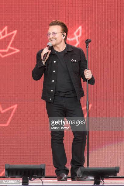 Bono performs during Canada Day celebrations at Parliament Hill on July 1 2017 in Ottawa Canada