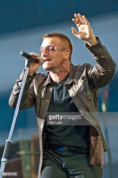 Bono performs on stage for the second night of U2's 360 Degrees World Tour in their home town at Croke Park on July 25 2009 in Dublin Ireland