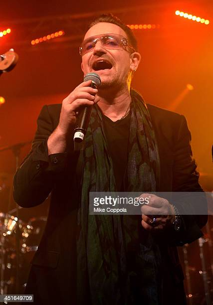 Bono performs onstage at the After Party for Jony And Marc's Auction at Sotheby's on November 23 2013 in New York City Photo by Mike Coppola/Getty...
