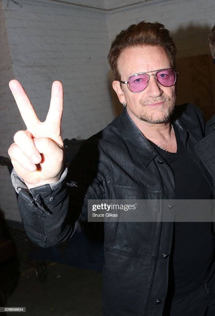 Bono poses backstage as he visits 'Eclipsed' To launch a dedications series in honor of abducted Chibok Girls of Northern Nigeriaon at The Golden Theatre on April 30, 2016 in New York, New York.