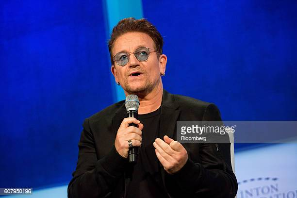 Bono singer for the band U2 speaks in a panel discussion during the annual meeting of the Clinton Global Initiative in New York US on Monday Sept 19...