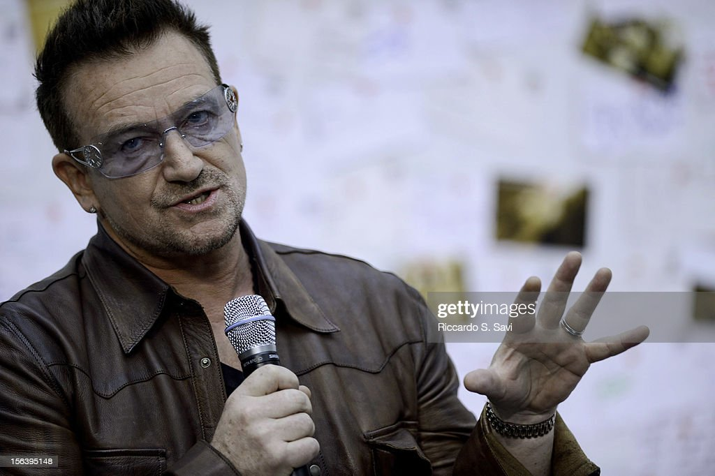 Bono speaks during a visit at the World Bank on November 14, 2012 in Washington, DC.