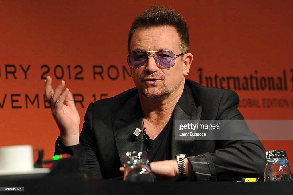 <a gi-track='captionPersonalityLinkClicked' href=/galleries/search?phrase=Bono+-+Singer&family=editorial&specificpeople=167279 ng-click='$event.stopPropagation()'>Bono</a> speaks during the third day of the 2012 International Herald Tribune's Luxury Business Conference held at Rome Cavalieri on November 16, 2012 in Rome, Italy. The 12th annual IHT Luxury conference is the premier meeting point for the luxury industry. 500 delegates from 30 countries have gathered in Rome to hear from the world's most inspirational fashion designers and luxury business leaders.