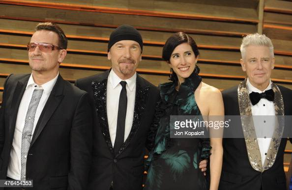 Bono The Edge Morleigh Steinberg and Adam Clayton attends the 2014 Vanity Fair Oscar Party hosted by Graydon Carter on March 2 2014 in West Hollywood...