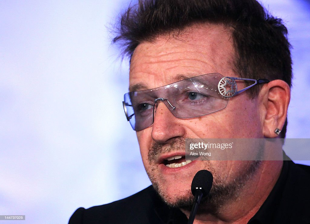 Bono, U2 lead singer and cofounder of ONE, speaks during the Symposium on Global Agriculture and Food Security May 18, 2012 at the Ronald Reagan Building in Washington, DC. The symposium, hosted by the Chicago Council on Global Affairs, in collaboration with the World Economic Forum, was to discuss new activities to advance global agricultural development, food and nutrition security in Africa.