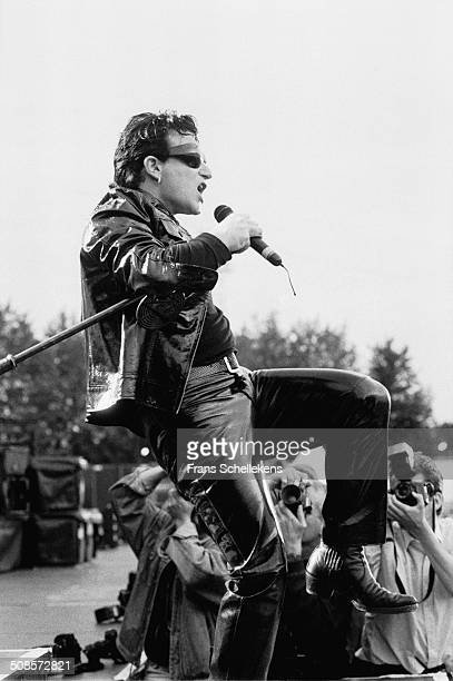 Bono vocal performs with U2 at the Goffert in Nijmegen Netherlands on 3rd August 1993
