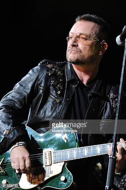 Bono Vox of U2 performs during the U2 360 Tour at San Siro Stadium on July 07 2009 in Milan Italy