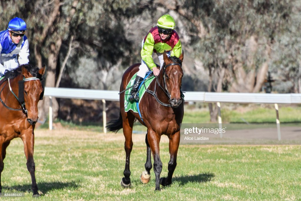Bons Away ridden by Linda Meech returns to scale after winning the Marios Bar at the Grand BM64 Handicap at Mildura Racecourse on August 18, 2017 in Mildura, Australia.