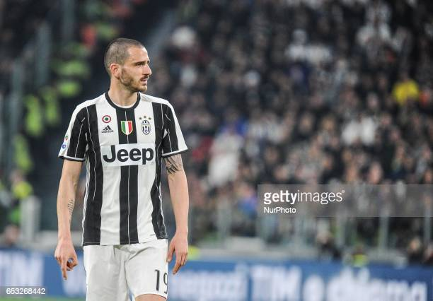 Bonucci of Juventus FC reacts during the Serie A match between Juventus FC and AC Milan at Juventus Stadium on March 10 2017 in Turin Italy
