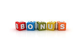 Bonus Buzzword Cubes - White Background - 3D Rendering