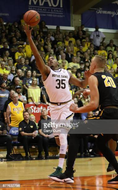 Bonzie Colson of the Notre Dame Fighting Irish catches a pass during the first half of the game against the Wichita State Shockers at the Maui...