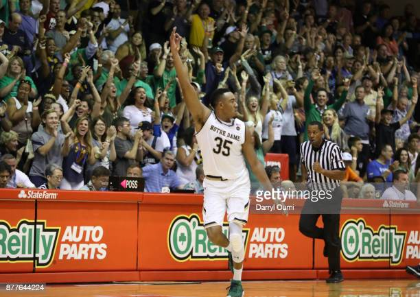 Bonzie Colson of the Notre Dame Fighting Irish gestures after draining a threepoint shot during the second half at the Maui Invitational at the...