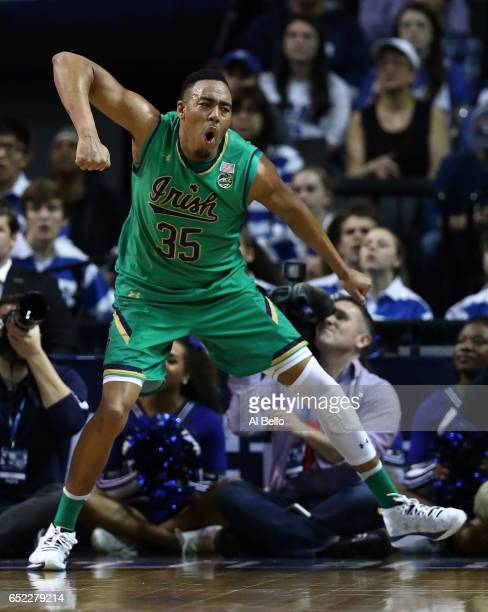 Bonzie Colson of the Notre Dame Fighting Irish reacts after drawing a foul on a basket against the Duke Blue Devils during the championship game of...