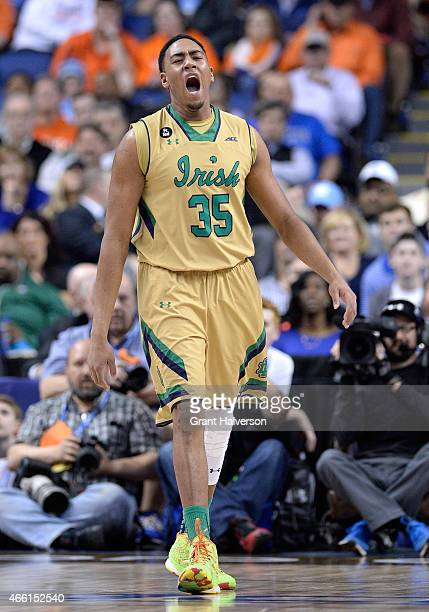 Bonzie Colson of the Notre Dame Fighting Irish reacts against the Duke Blue Devils during the semifinals of the 2015 ACC Basketball Tournament at...