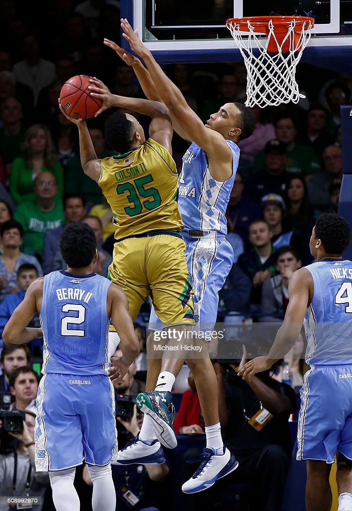 Bonzie Colson #35 of the Notre Dame Fighting Irish shoots the ball against <a gi-track='captionPersonalityLinkClicked' href=/galleries/search?phrase=Brice+Johnson+-+Basketball+Player&family=editorial&specificpeople=13908967 ng-click='$event.stopPropagation()'>Brice Johnson</a> #11 of the North Carolina Tar Heels at Purcell Pavilion on February 6, 2016 in South Bend, Indiana. Notre Dame defeated North Carolina 80-76.