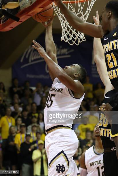 Bonzie Colson of the Notre Dame Fighting Irish takes a shot during the first half of the game against the Wichita State Shockers at the Maui...