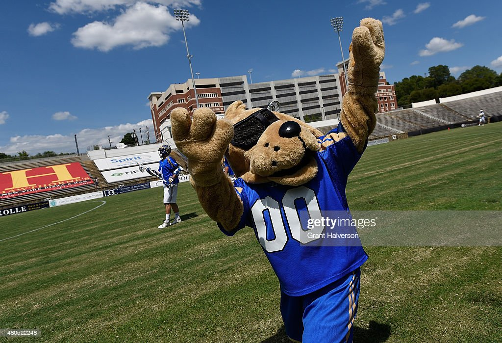 Boo the Charlotte Hounds mascot pumps up the crowd before their game against the Florida Launch at American Legion Memorial Stadium on July 11 2015...