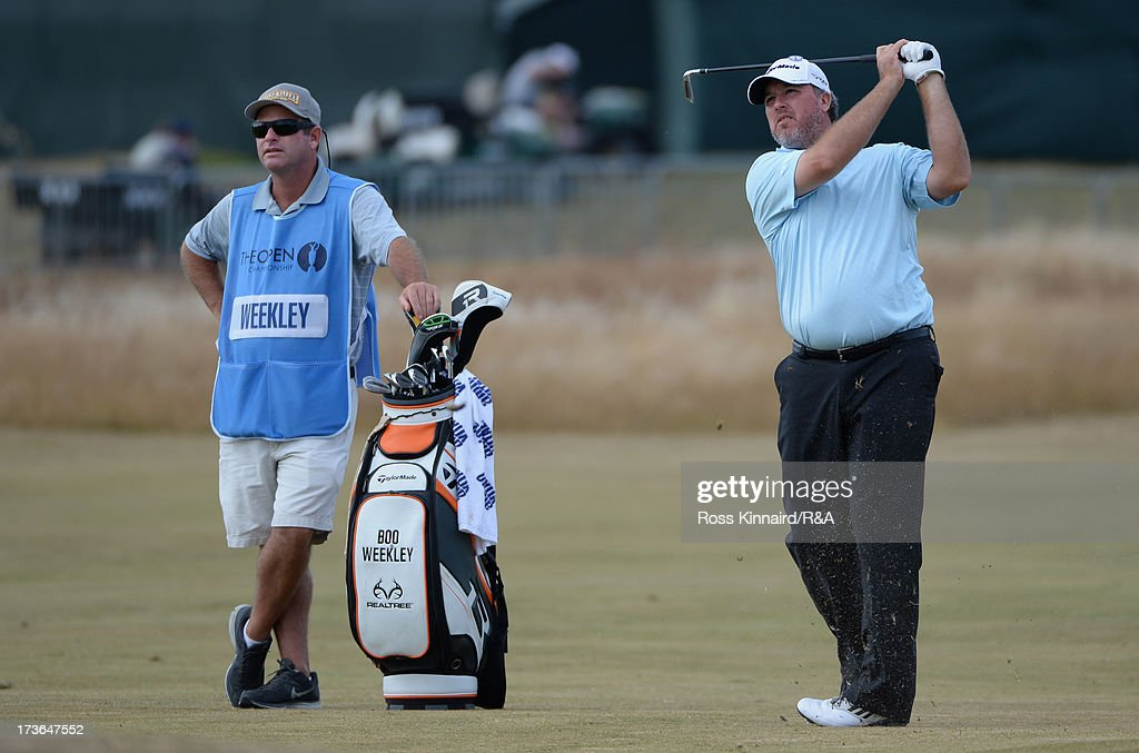 <a gi-track='captionPersonalityLinkClicked' href=/galleries/search?phrase=Boo+Weekley&family=editorial&specificpeople=3486615 ng-click='$event.stopPropagation()'>Boo Weekley</a> of the United States hits an approach ahead of the 142nd Open Championship at Muirfield on July 16, 2013 in Gullane, Scotland.