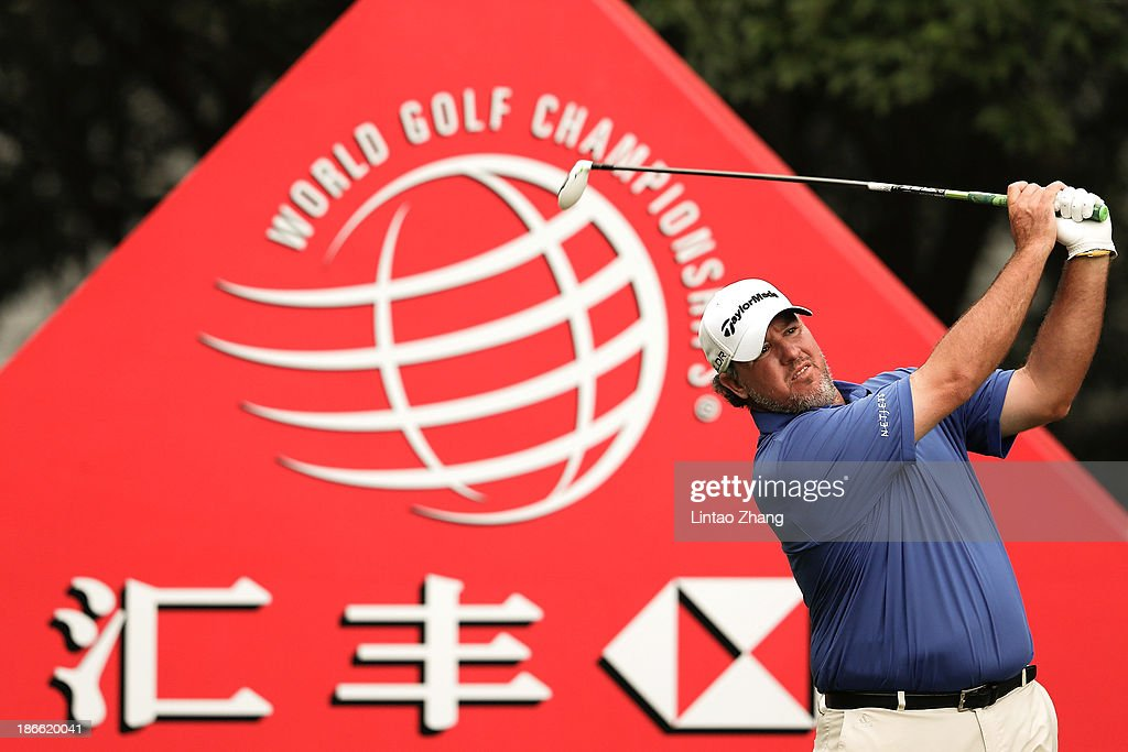 <a gi-track='captionPersonalityLinkClicked' href=/galleries/search?phrase=Boo+Weekley&family=editorial&specificpeople=3486615 ng-click='$event.stopPropagation()'>Boo Weekley</a> of the USA plays a chip shot during the thrid round of the WGC - HSBC Champions at the Sheshan International Golf Club on November 2, 2013 in Shanghai, China.