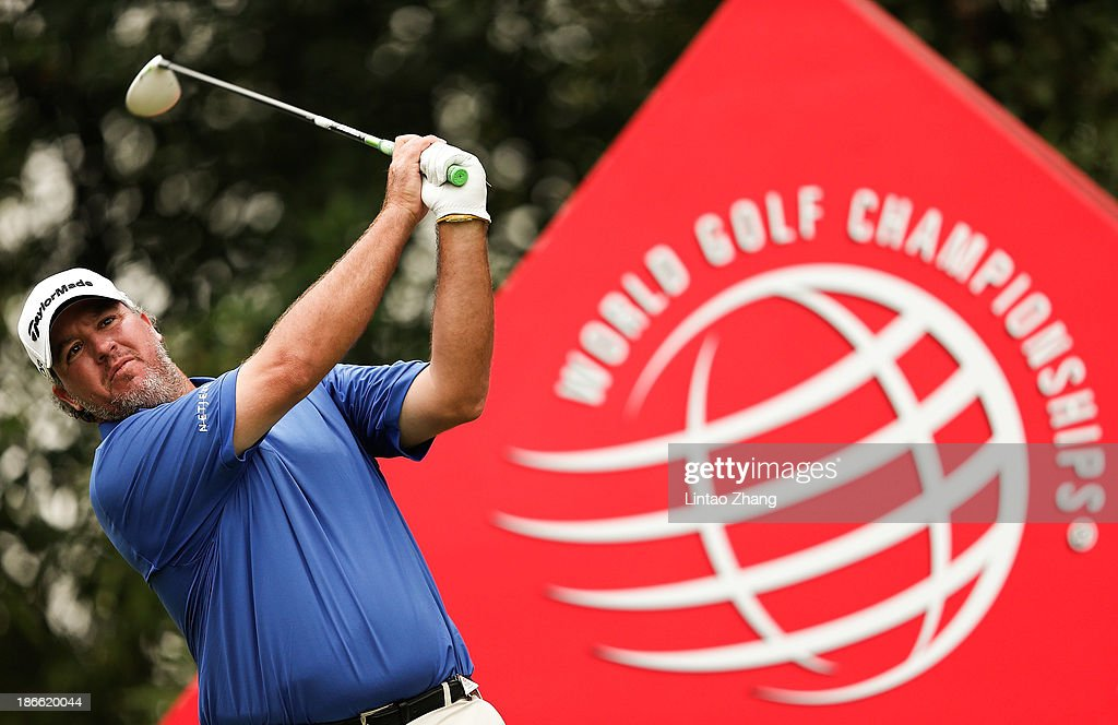 <a gi-track='captionPersonalityLinkClicked' href=/galleries/search?phrase=Boo+Weekley&family=editorial&specificpeople=3486615 ng-click='$event.stopPropagation()'>Boo Weekley</a> of the USA plays a chip shot during the third round of the WGC - HSBC Champions at the Sheshan International Golf Club on November 2, 2013 in Shanghai, China.