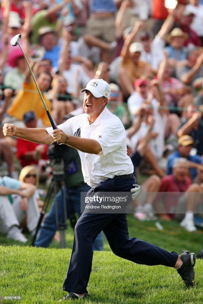 Boo Weekley of the USA team celebrates a birdie putt on the 12th hole during the afternoon four-ball matches on day one of the 2008 Ryder Cup at Valhalla Golf Club on September 19, 2008 in Louisville, Kentucky.