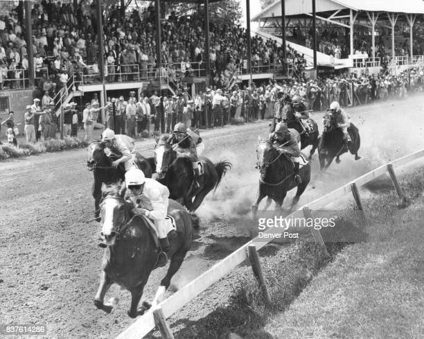 BooBoo Bounds Into Lead BooBoo owned by Ancell Rogers takes lead for keeps in first race at brush Race Track Saturday Boo Boo ridden by Don Huff Paid...