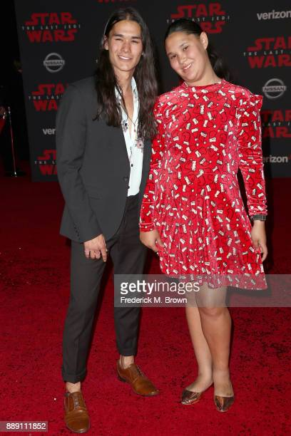 Booboo Stewart and Sage Stewart attend the premiere of Disney Pictures and Lucasfilm's 'Star Wars The Last Jedi' at The Shrine Auditorium on December...