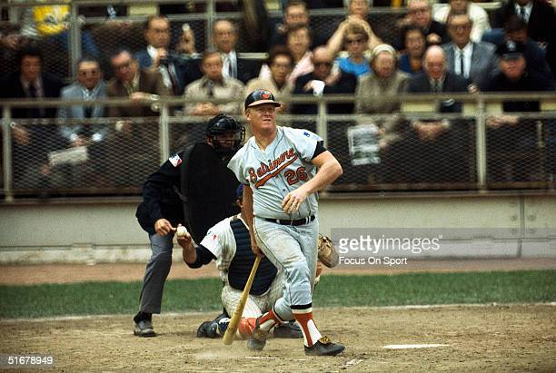 Boog Powell of the Baltimore Orioles batts against the New York Mets during the 1969 World Series at Shea Stadium in Flushing New York in 1969