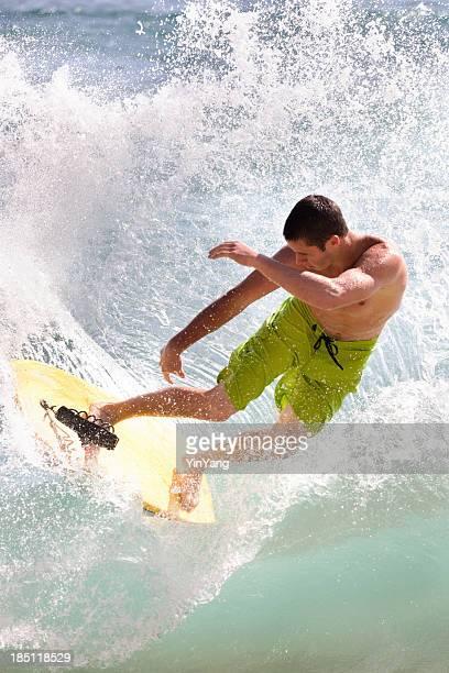 Boogie boarding on the Tropical Beach of Poipu Kauai, Hawaii