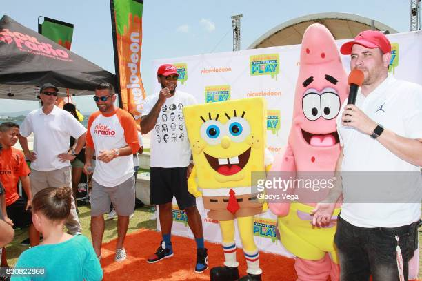 DJ Boogie Carmelo Anthony and Danilo Beauchamp participate in the the Worldwide Day of Play at Bahia Urbana Bay Side Park on August 12 2017 in San...