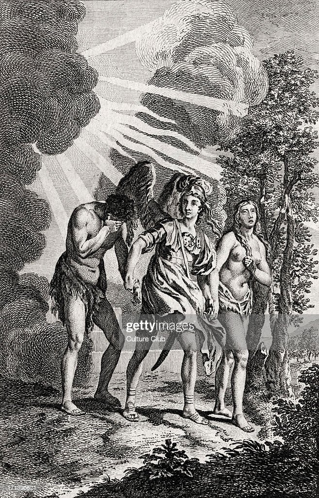 LOST - Book 12 The Angel Michael leads Adam and Eve out of Paradise by the hand. English Poet. First published 1667. Reproduced from 4th edition 1757.