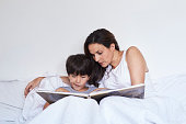 Book at bedtime for little dude in bed