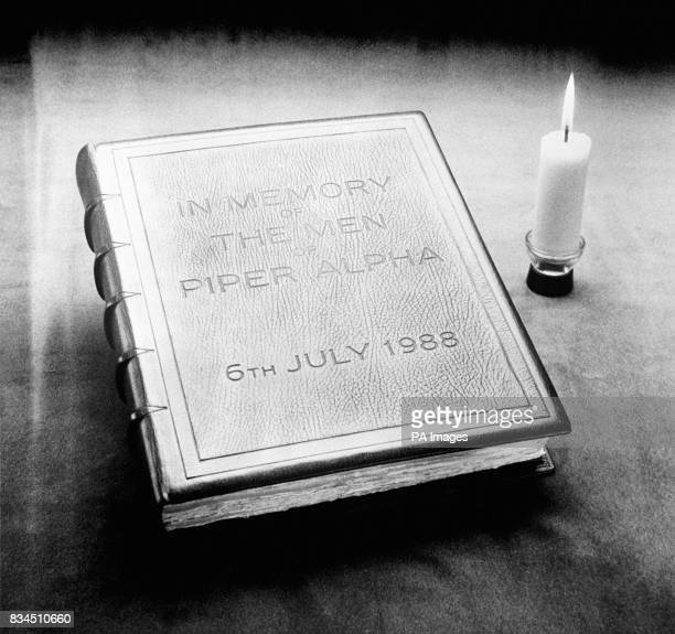 A book bound by the Royal College of Arms dedicated to the memory of the men who lost their lives in the Piper Alpha disaster The book contains the...